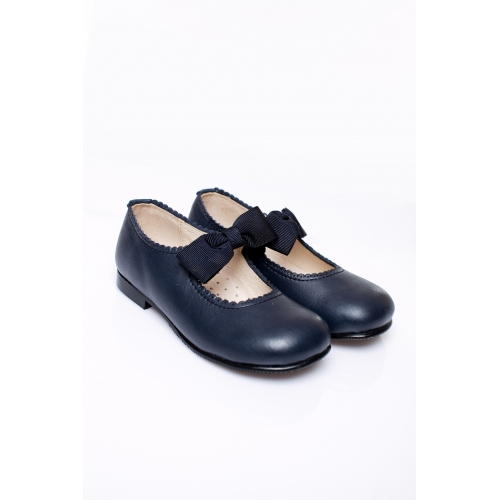 Navy Mary Janes with bows