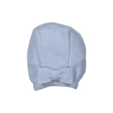 Light blue scalloped knit bonnet