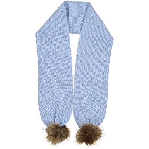 Light Blue Pom-pom Scarf