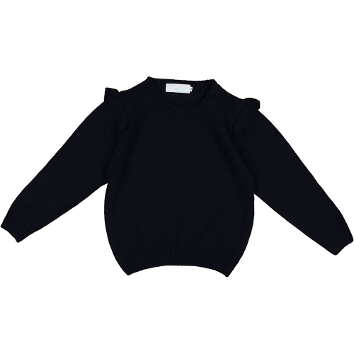 Frilly Shoulders Navy Knit