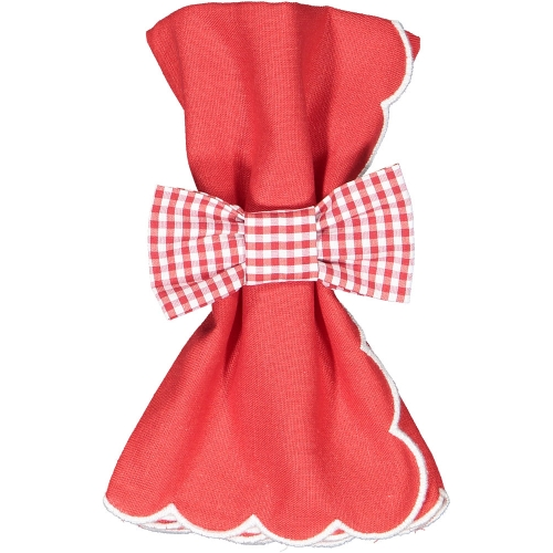 Christmas Gingham Set of Two Napkin Bows
