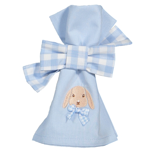 Caramel the Bunny Blue Set of Two Napkin Bows