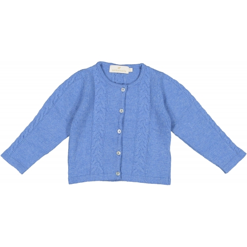 Blue Cable-knit Bow Cardigan
