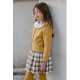 Mustard Cable-knit Bow Cardigan